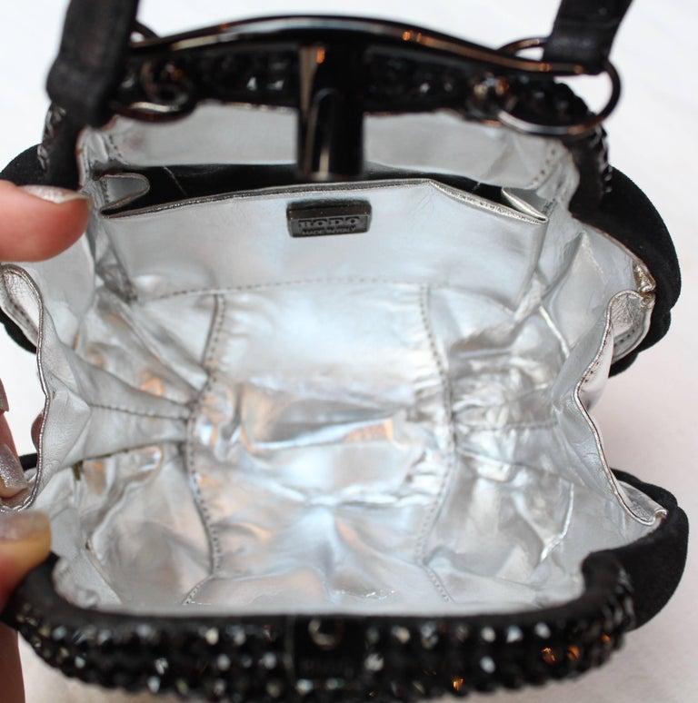 "Rodo small black ""shell"" handbag, 1980s For Sale 2"