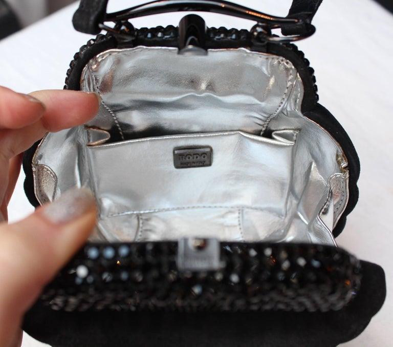"Rodo small black ""shell"" handbag, 1980s For Sale 1"