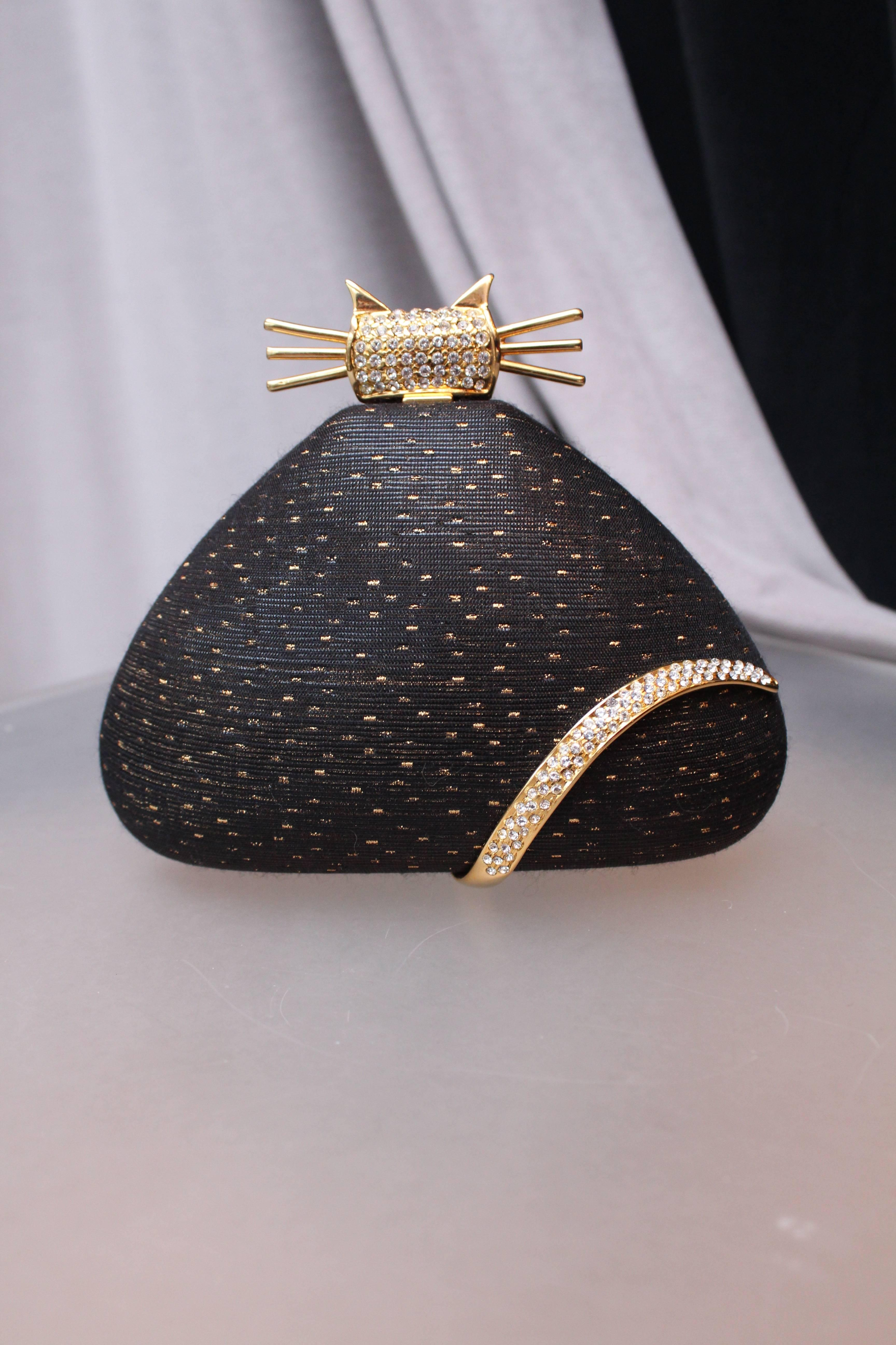1stdibs Rodo Black And Gold Cat-shaped Minaudière, 1980s