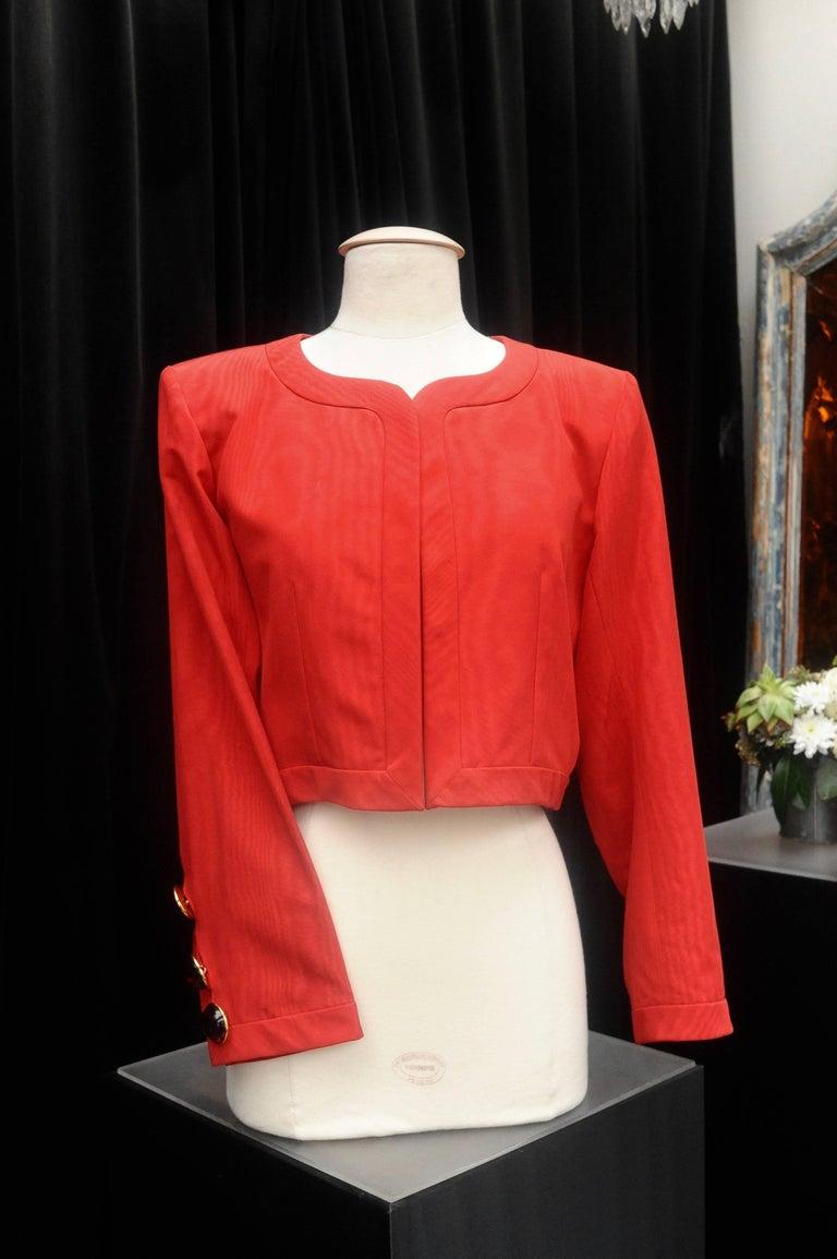 Black Yves Saint Laurent Rive Gauche red and black skirt set For Sale