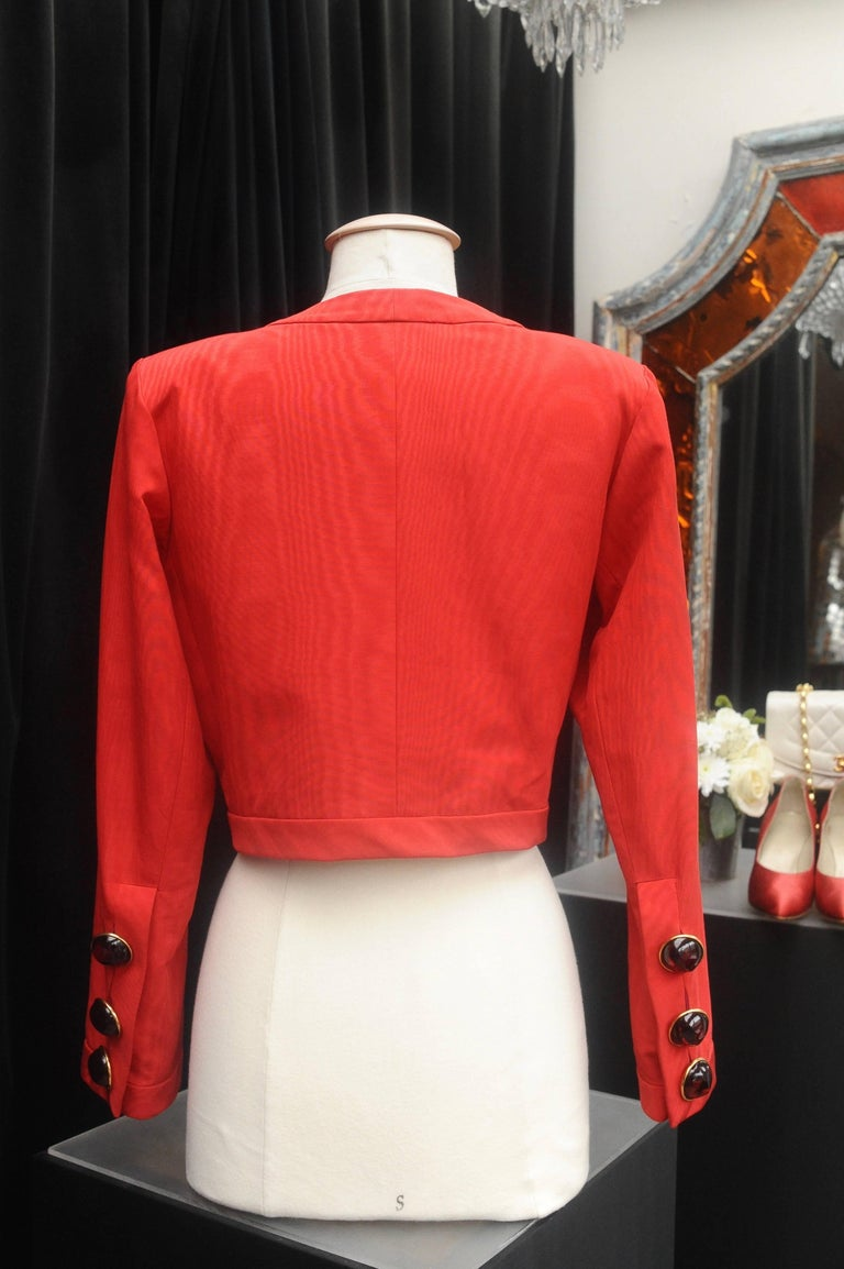 Yves Saint Laurent Rive Gauche red and black skirt set In Good Condition For Sale In Paris, FR