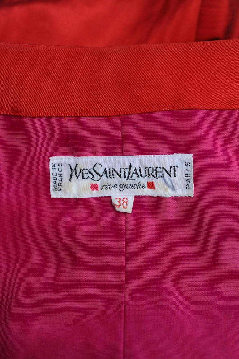 Yves Saint Laurent Rive Gauche red and black skirt set For Sale 3