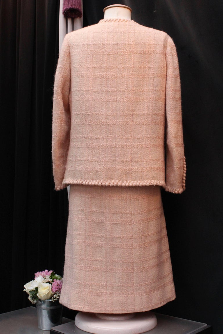 Brown Chanel Haute Couture light pink wool skirt set, 1960s  For Sale