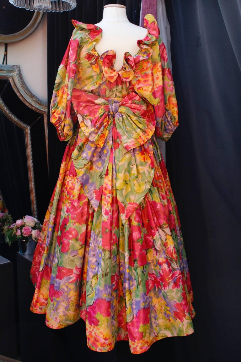 Orange 1990s Nina Ricci (attributed to) Opera dress with yellow red and green colors For Sale