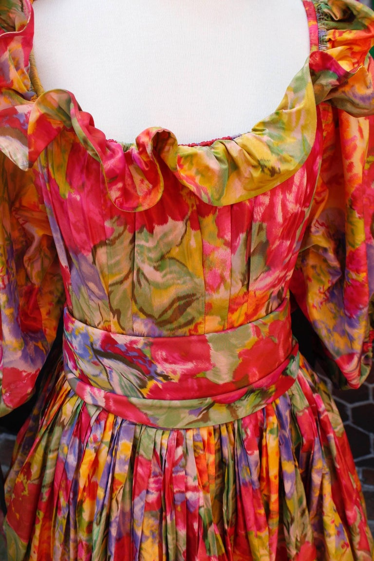 Women's 1990s Nina Ricci (attributed to) Opera dress with yellow red and green colors For Sale