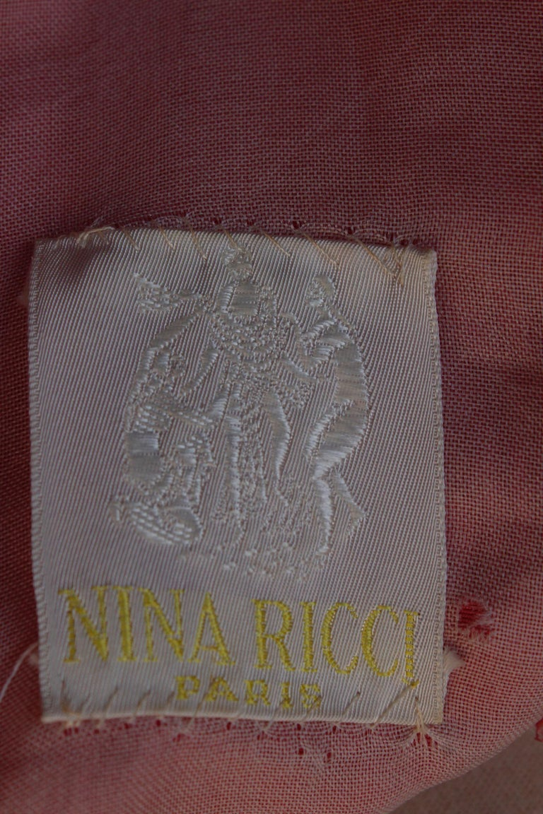 Nina Ricci pink silk opera dress with golden embroideries and bows, 1990s  For Sale 6