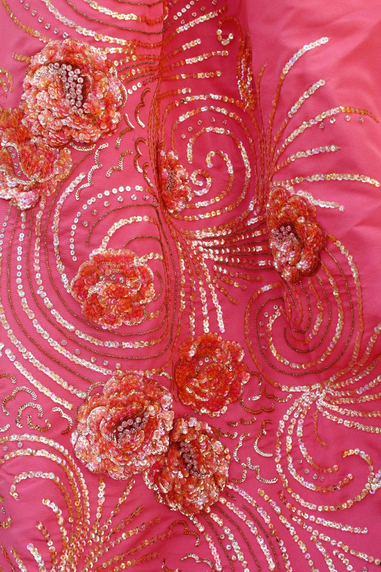 Nina Ricci pink silk opera dress with golden embroideries and bows, 1990s  For Sale 1