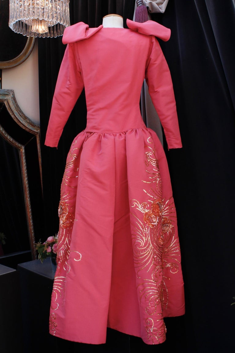 Pink Nina Ricci pink silk opera dress with golden embroideries and bows, 1990s  For Sale