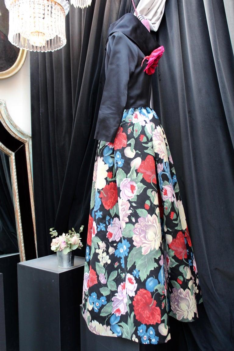 Black Nina Ricci silk taffeta evening gown with floral print, 1980s  For Sale