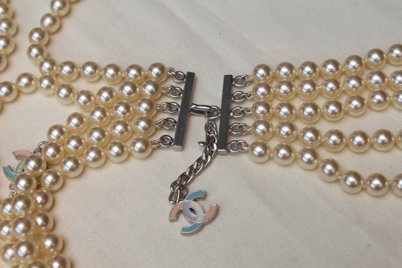 Chanel Multi Rows Faux Pearls Necklace, circa 2005 2