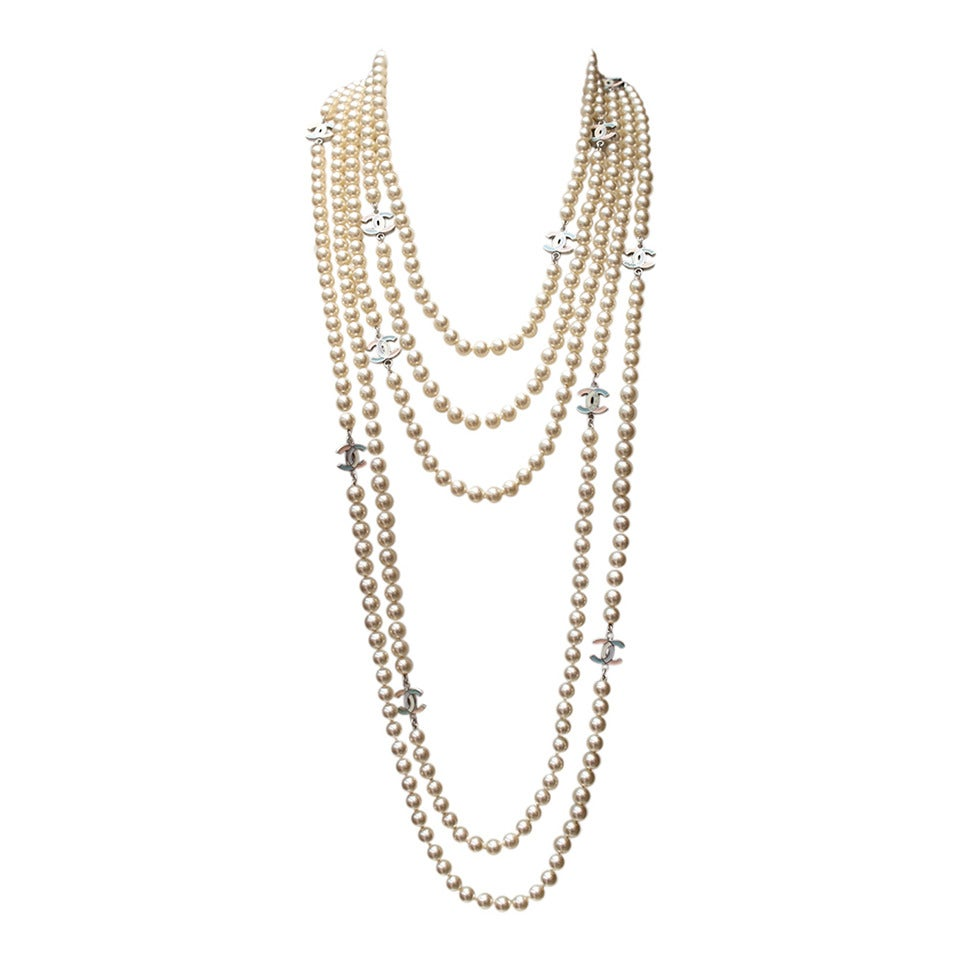Chanel Multi Rows Faux Pearls Necklace, circa 2005 For Sale