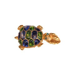 "1988 Isabel Canovas Gilded bronze and Glass Paste ""Aglae"" Turtle Brooch"