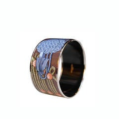 Hermes Brown Enamel Bangle with Blue and Beige Trimmings Design