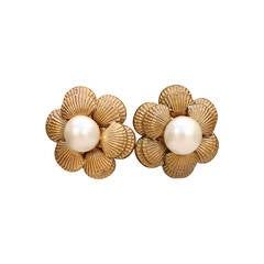 Shell Motif and Faux Pearls Chanel Earrings, circa 1980s
