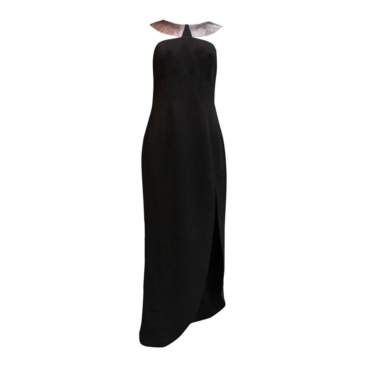 1990s Thierry Mugler Couture Black Crepe Resin and Black Bead Bib Neckline Dress For Sale