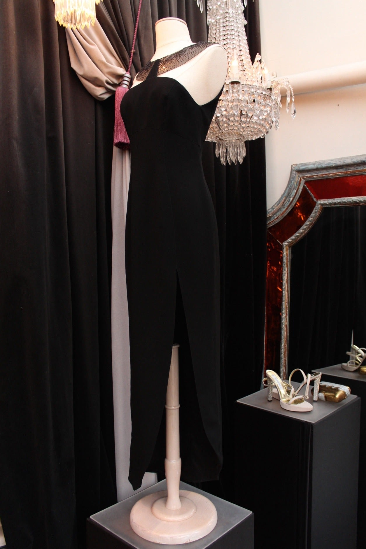 1990s Thierry Mugler Couture Black Crepe Resin and Black Bead Bib Neckline Dress For Sale 1
