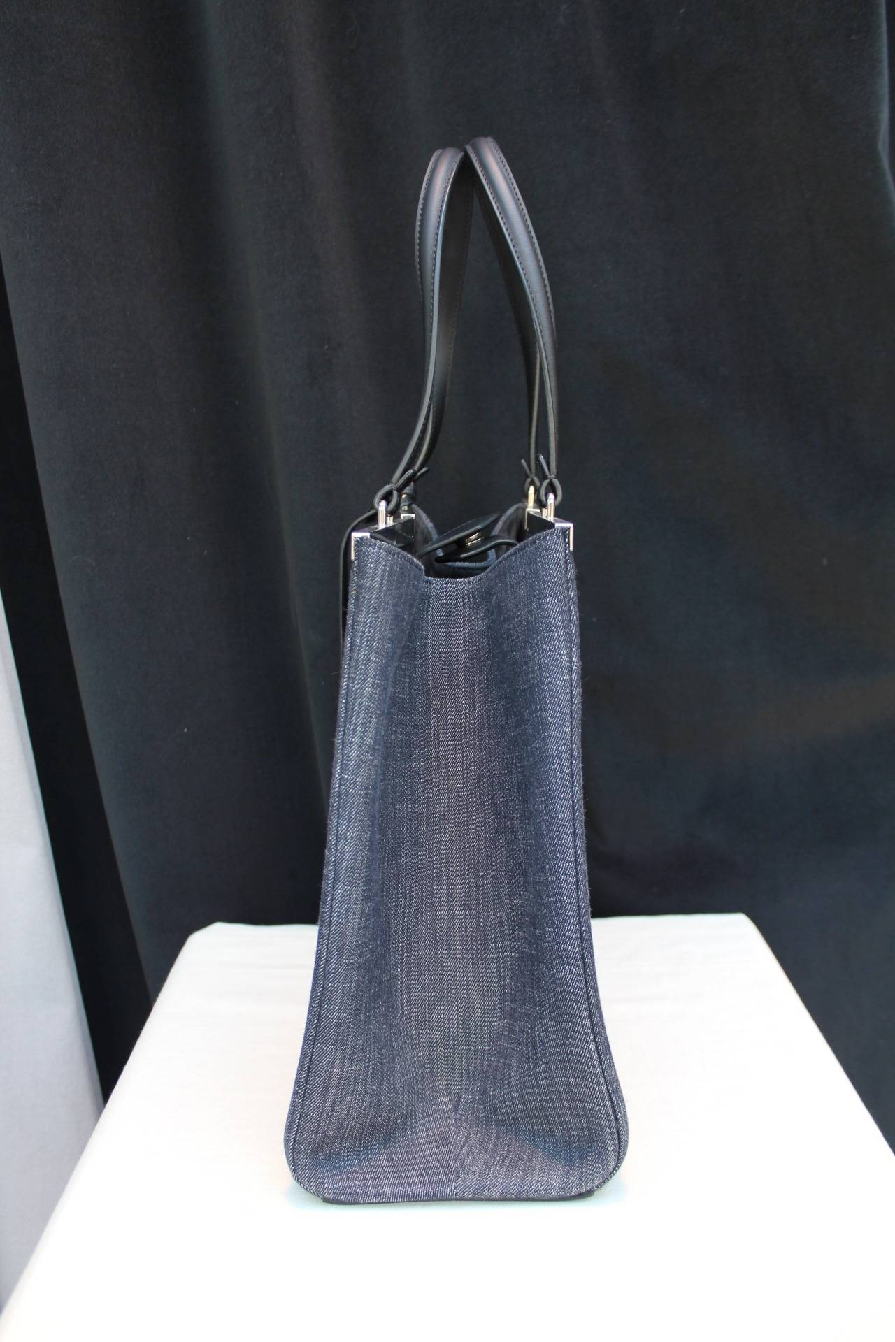 fc552b1ab240 2014 Fendi Denim 3Jours Tote Bag For Sale. Large Fendi ink blue 3Jours denim  shopping bag with black calfskin lining and customizable name tag