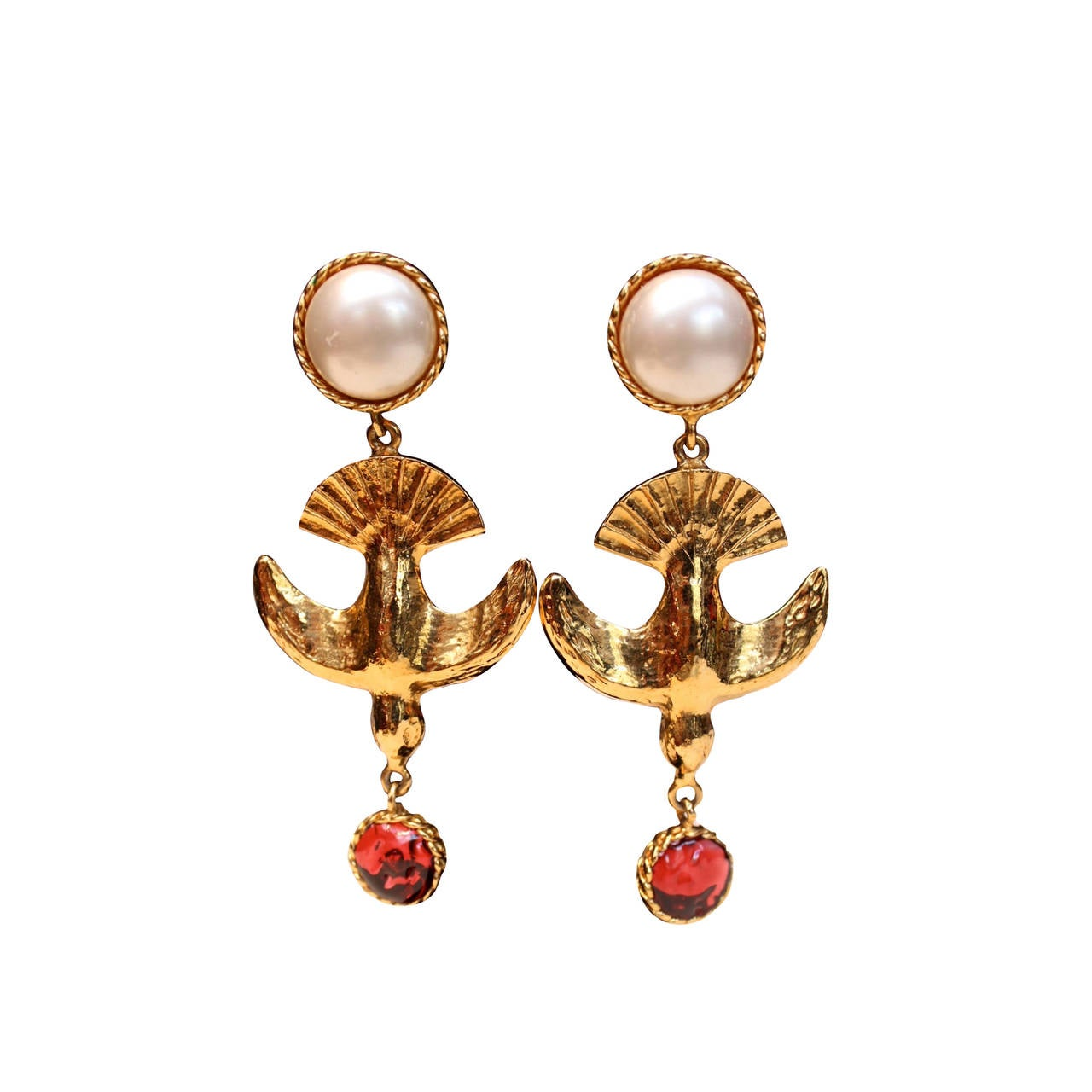 1060s70s Chanel Gold Bird, Faux Pearl And Glass Drop Earrings By Goossens 1