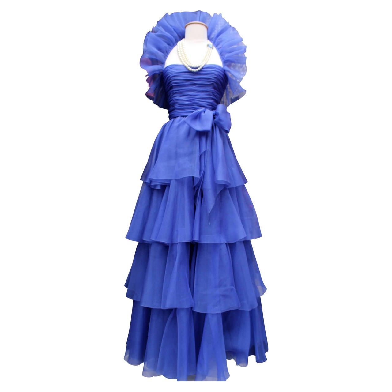 Jean-Louis Scherrer Haute Couture Blue Organza Evening Gown, 1980s  For Sale