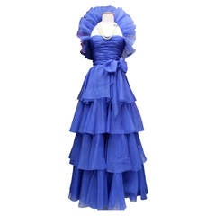 1980s Jean-Louis Scherrer Haute Couture Blue Organza Evening Gown