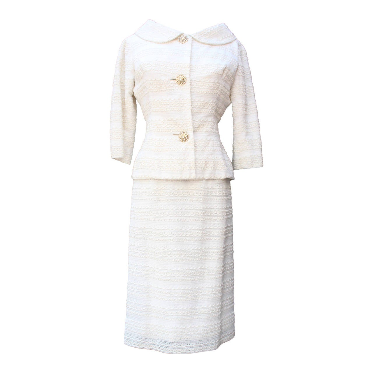 1961 Carven Haute Couture White Lace Dress and Jacket Ensemble 1