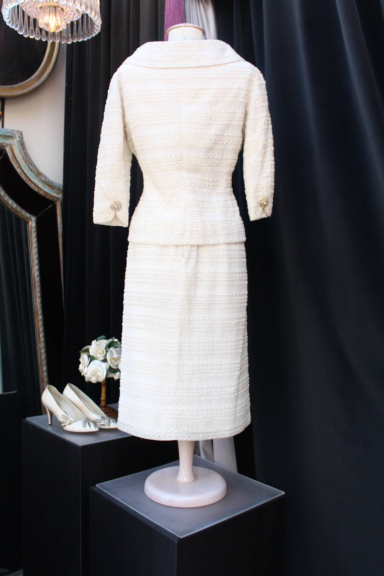 Gray 1961 Carven Haute Couture White Lace Dress and Jacket Ensemble For Sale