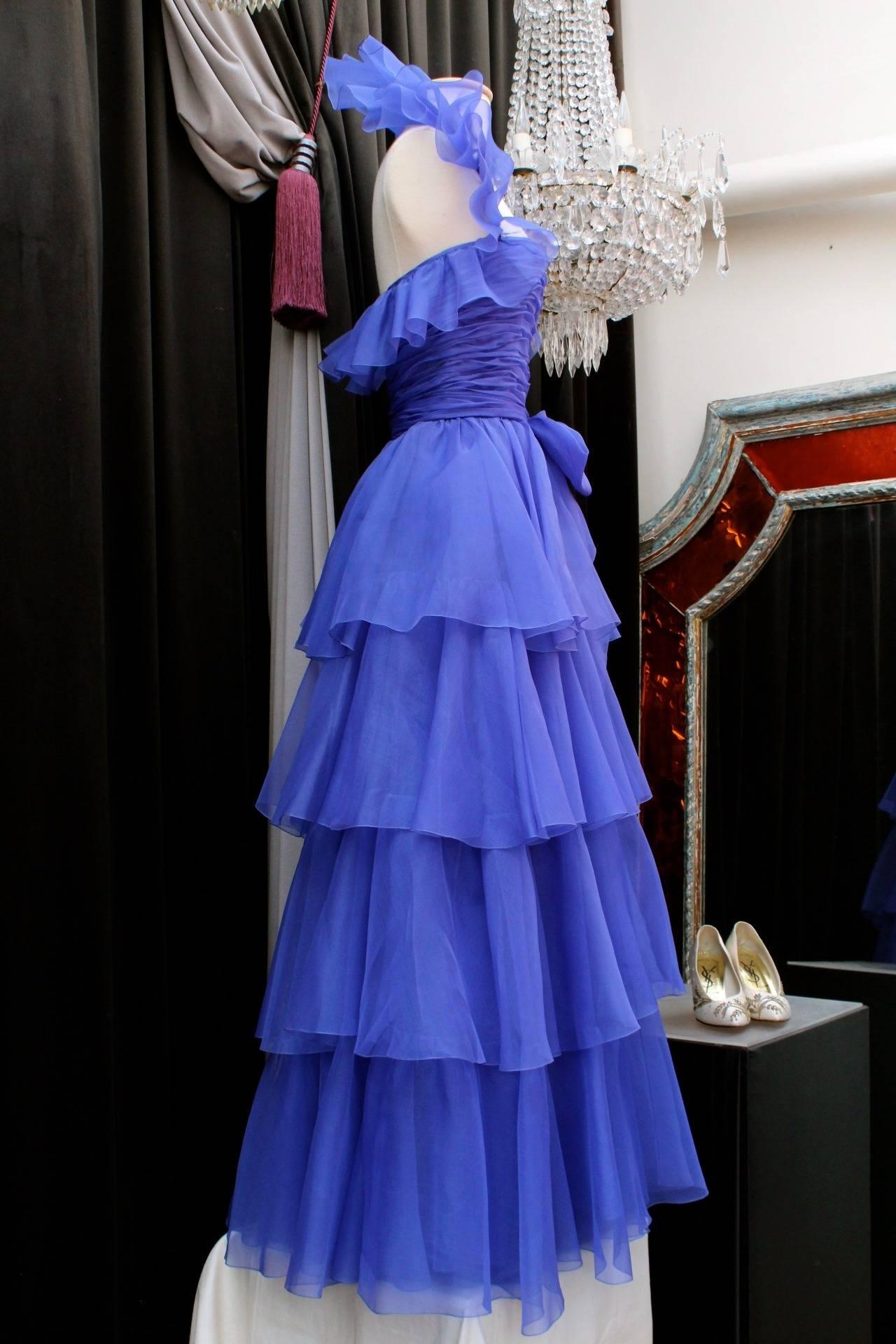 Women's Jean-Louis Scherrer Haute Couture Blue Organza Evening Gown, 1980s  For Sale