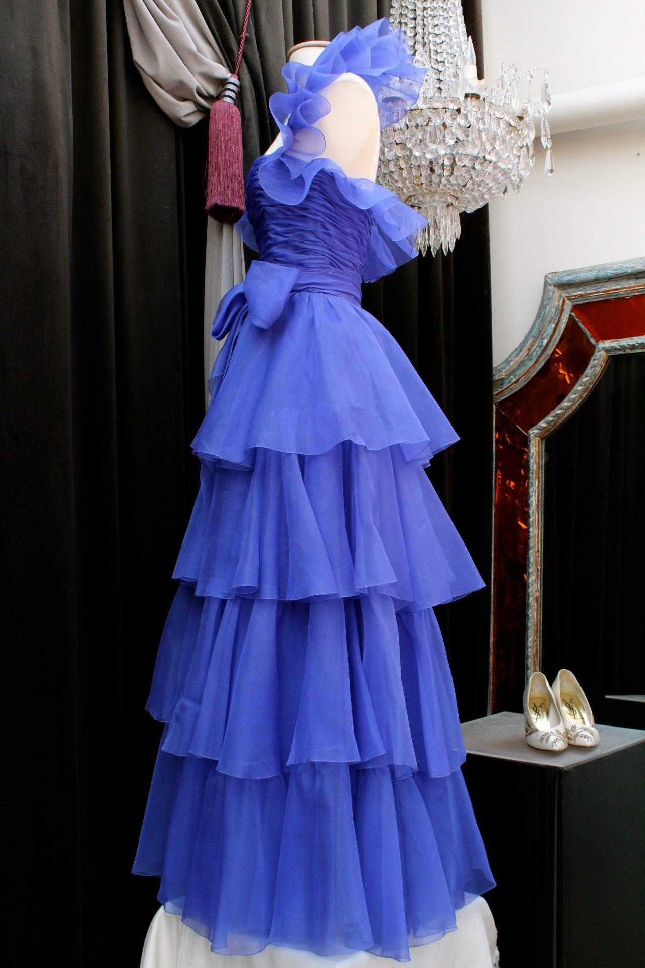 Purple Jean-Louis Scherrer Haute Couture Blue Organza Evening Gown, 1980s  For Sale