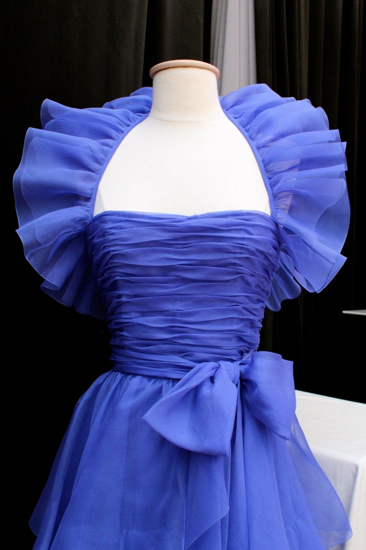 Jean-Louis Scherrer Haute Couture Blue Organza Evening Gown, 1980s  For Sale 1