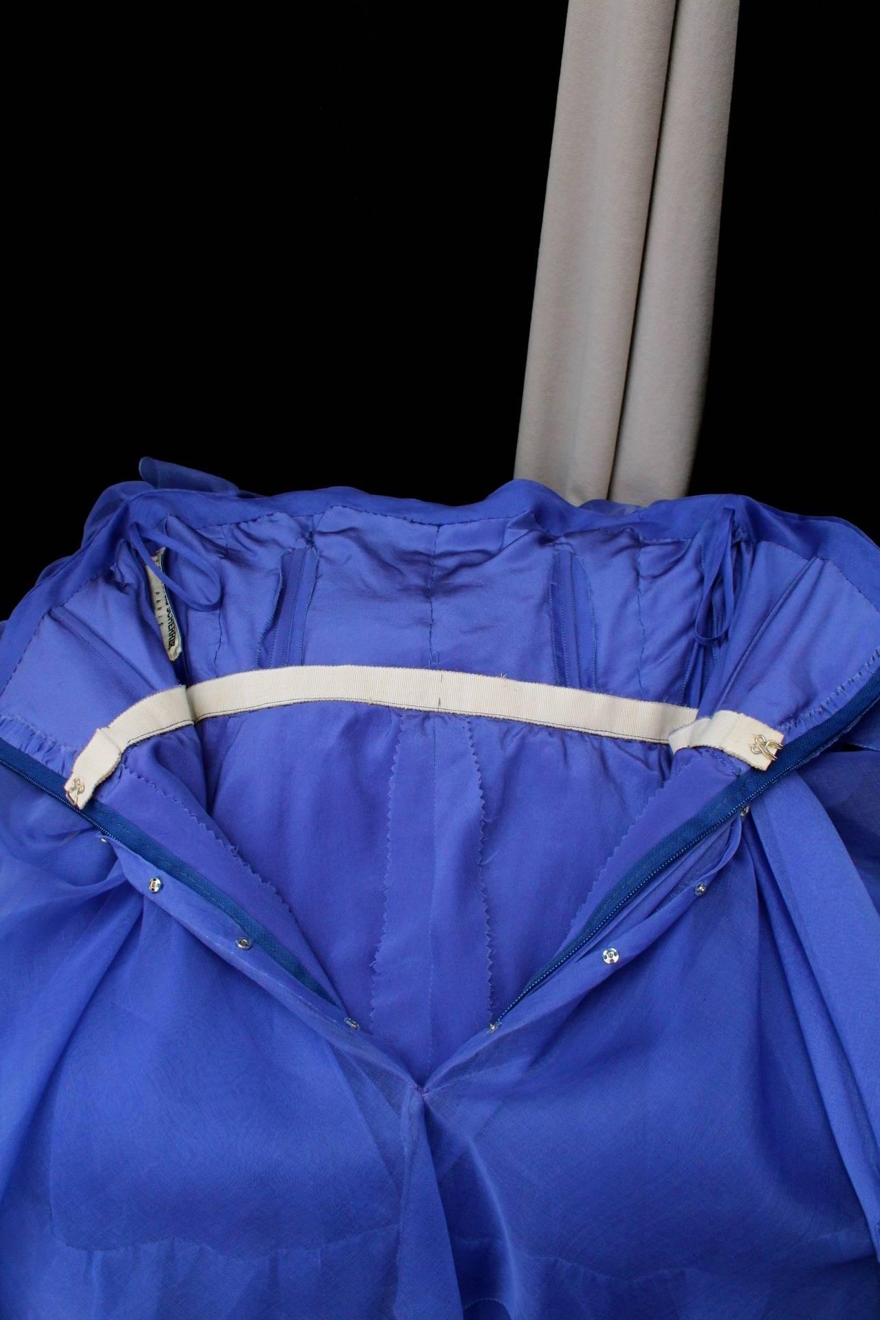 Jean-Louis Scherrer Haute Couture Blue Organza Evening Gown, 1980s  For Sale 3