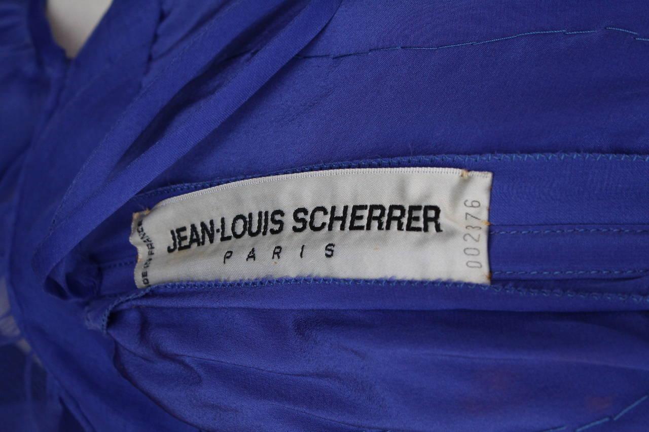 Jean-Louis Scherrer Haute Couture Blue Organza Evening Gown, 1980s  For Sale 2