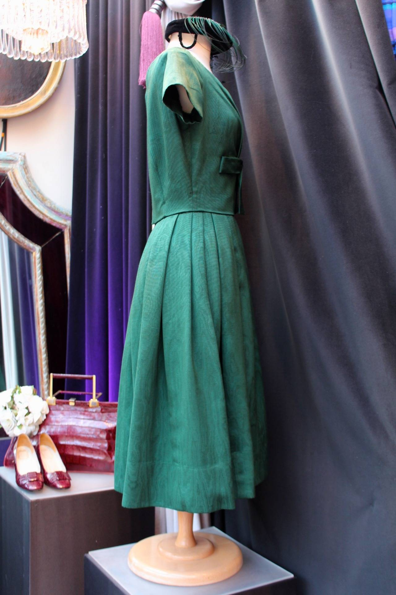Women's 1950s Christian Dior Boutique Green Cocktail Dress For Sale