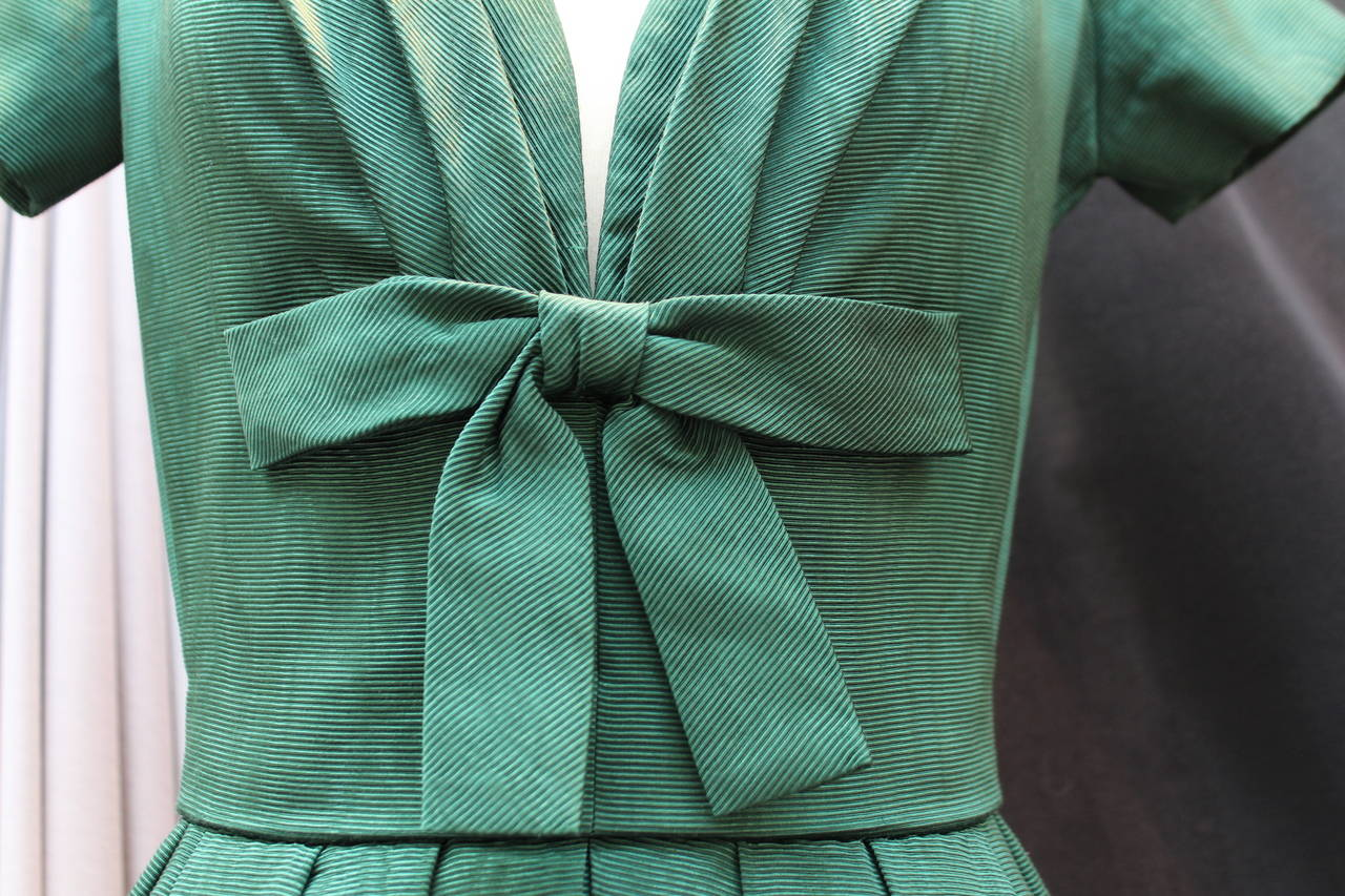 1950s Christian Dior Boutique Green Cocktail Dress For Sale 1