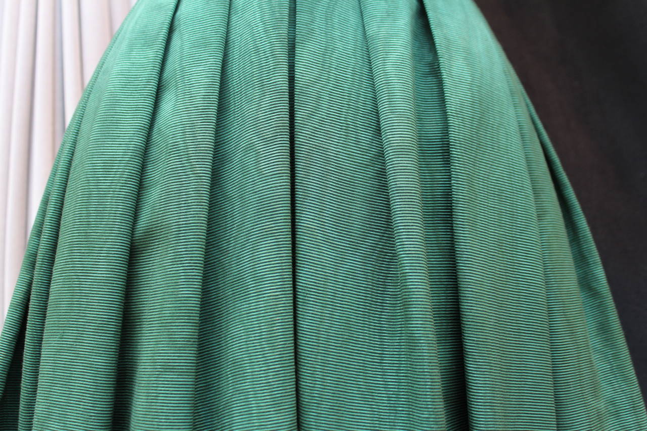 1950s Christian Dior Boutique Green Cocktail Dress For Sale 3