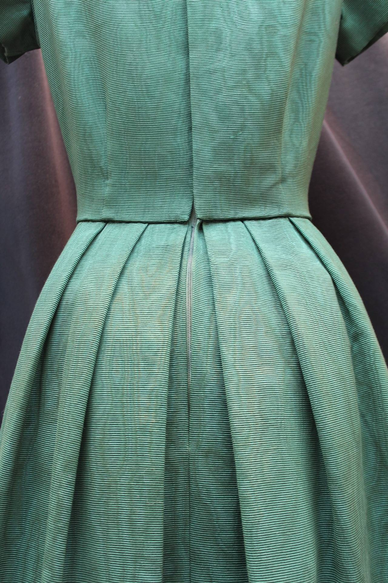 1950s Christian Dior Boutique Green Cocktail Dress For Sale 2