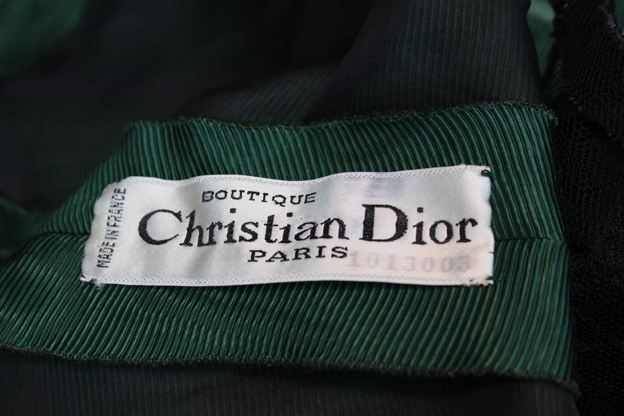 1950s Christian Dior Boutique Green Cocktail Dress For Sale 5