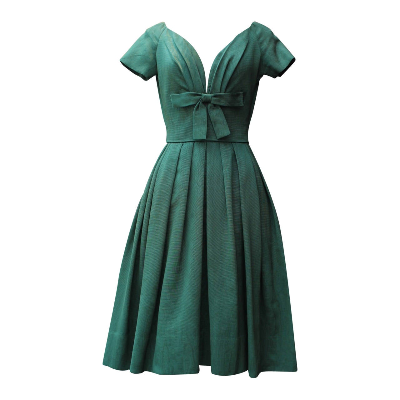 1950s Christian Dior Boutique Green Cocktail Dress For Sale