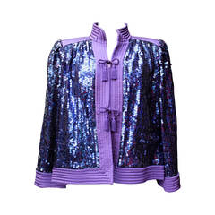 1980s Valentino Purple Quilted Silk and Sequins Evening Vest