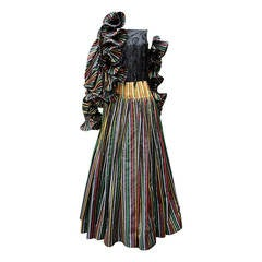 1980s Nina Ricci Haute Couture Striped Black and Multicolore Evening Ensemble