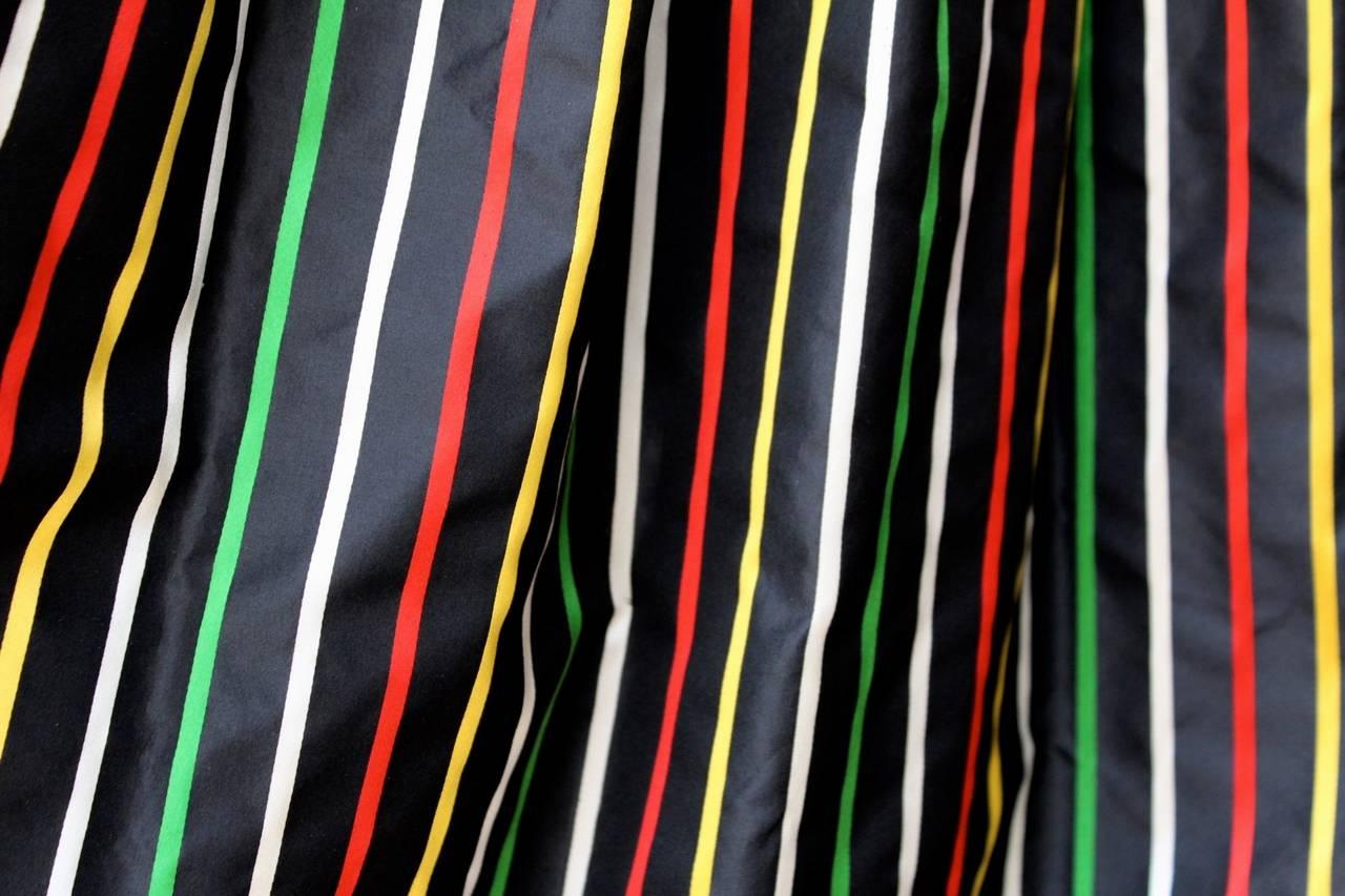 1980er Jahre Nina Ricci Haute Couture Gestreiftes Schwarzes und Buntes Abend Ensemble 6