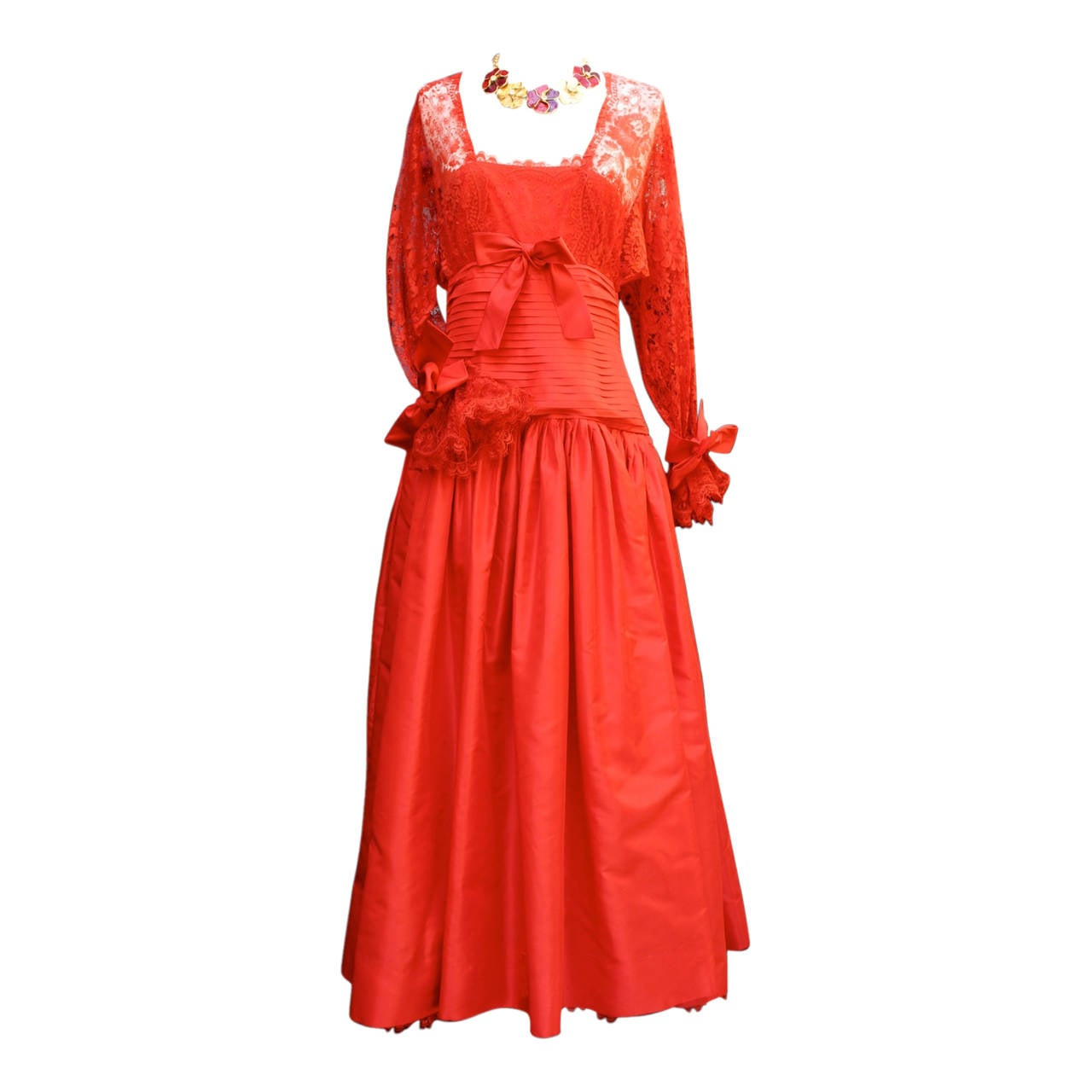Fall 1980 Nina Ricci Haute Boutique Red Taffeta and Lace Evening Dress