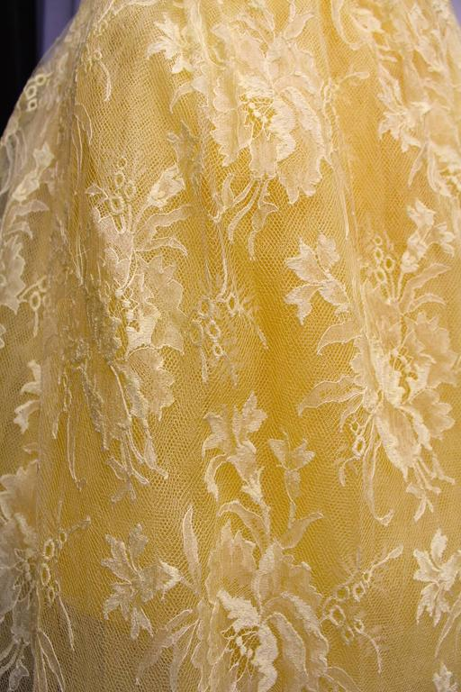 1950s Jeanne Lanvin by Castillo Yellow Lace and Tulle Ball Dress 5