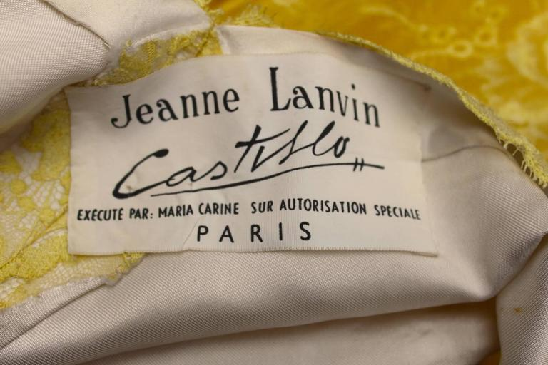 1950s Jeanne Lanvin by Castillo Yellow Lace and Tulle Ball Dress 9