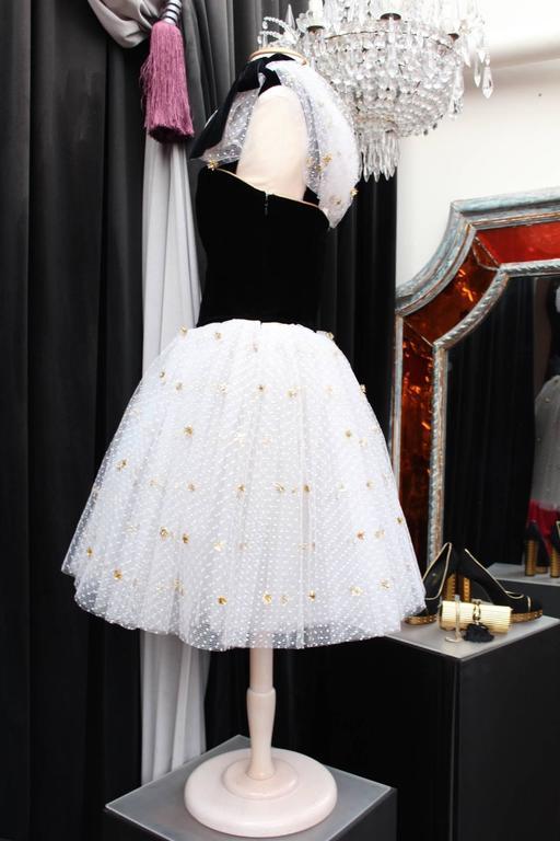 1980s Yves Saint Laurent White and Gold Tulle and Black Velvet Evening Dress 2