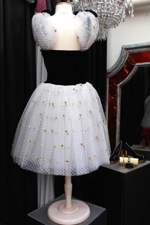 1980s Yves Saint Laurent White and Gold Tulle and Black Velvet Evening Dress 3