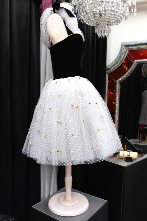 1980s Yves Saint Laurent White and Gold Tulle and Black Velvet Evening Dress 4