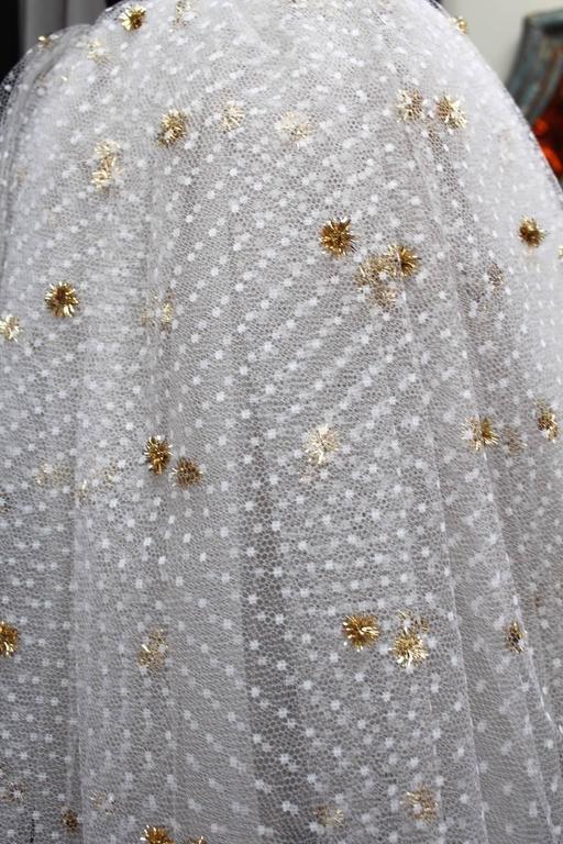 1980s Yves Saint Laurent White and Gold Tulle and Black Velvet Evening Dress 7