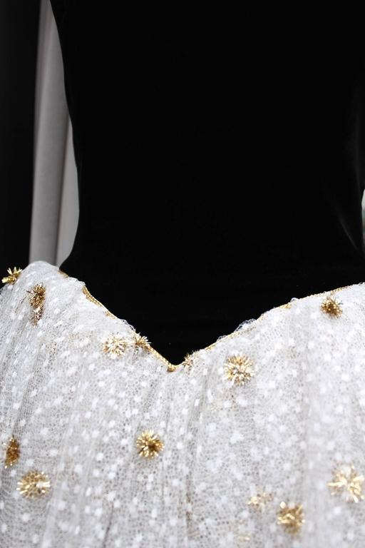 1980s Yves Saint Laurent White and Gold Tulle and Black Velvet Evening Dress 5