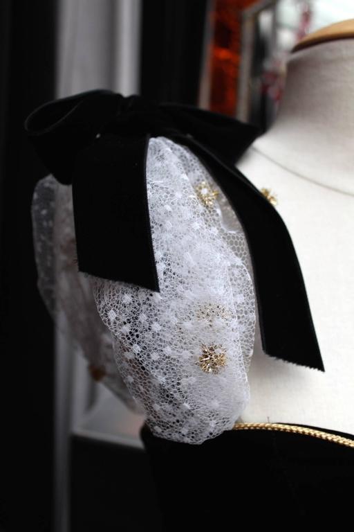 1980s Yves Saint Laurent White and Gold Tulle and Black Velvet Evening Dress 6
