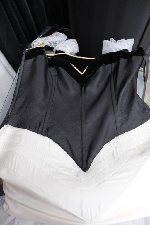 1980s Yves Saint Laurent White and Gold Tulle and Black Velvet Evening Dress 10